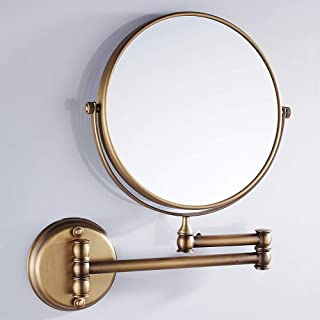 VELIMAX 8-Inch Solid Brass Bathroom Vanity Mirror Wall Mounted Folding Makeup Double Side Magnification Mirror Antique Style (Brassy)