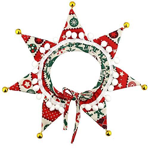 Wiz BBQT Verstellbares Haustier-Deko-Weihnachtskugeln mit Glöckchen, Stern-Halsband für Katzen, Hunde, Party, Urlaubszubehör, M, Red, White, Green, Gold, Brown