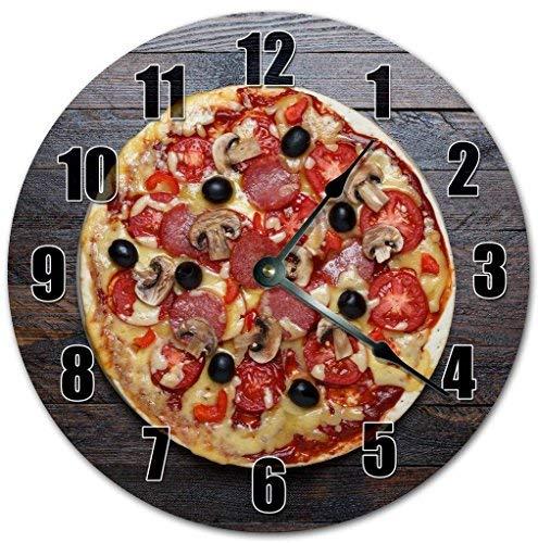 HSSS Vintage Mouthwatering Pizza-Uhr Dekorative runde Holz-Wanduhr – 30,5 cm