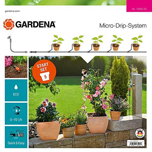 Gardena Start Set Pflanztöpfe S: Das praktische Micro-Drip-System Starterset für 5 Topfpflanzen, wasserparende automatische Bewässerung (13000-20)