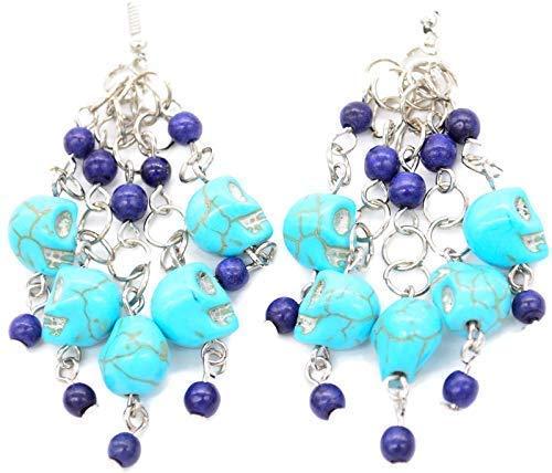 Bohemian 4 years warranty Beaded Turquoise Regular store Blue and Drop Lapis Dangle Skull Earri