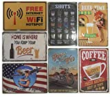 Chapas Decorativas Retro [ Carteles Metálicos Variados 20 x 30 ] Set de 7 Placas para Decoración Vintage | Envío desde España