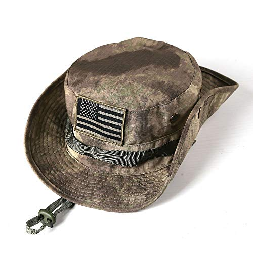 Military Tactical Head Wear/Boonie Hat Cap for Wargame,Sports,Fishing &Outdoor Activties ACU Camouflage with USA Patch
