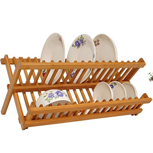 Kitchen Storage Bowl Plate Dish Drying Racks, 2-Tier Foldable Bamboo Utensil Holder Drainer Cutlery Shelf,L