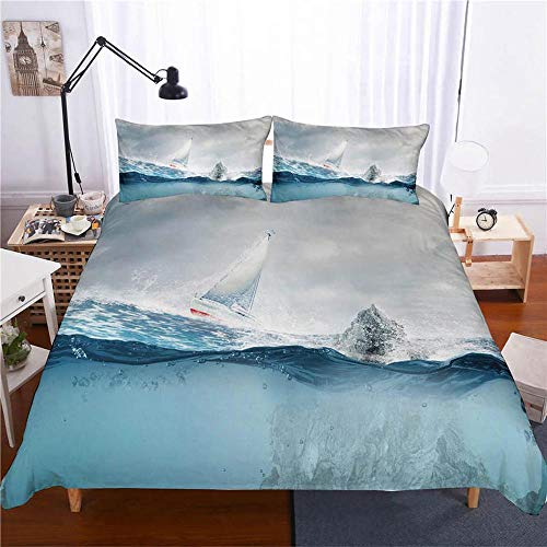 HZWL Duvet Cover Set Bedroom Bedding Set With Beach And Seaside Scenery Polyester Cotton Quilt Cover With Pillowcase K-U-King 229 * 259cm