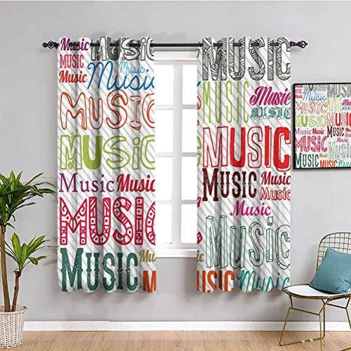 Cortina moderna con aislamiento de sombreado, tipo musica en varios estilos, ritmo armonía acústica, melodía, ilustración funky, sombra insonorizada, multicolor, 54 x 39 pulgadas