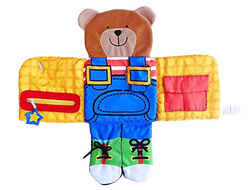 SKK BABY Dress up Bear Activiy Toy Soft Fabric Book with Buckle Shoe Tie Button Zipper Snap 6-36 Months