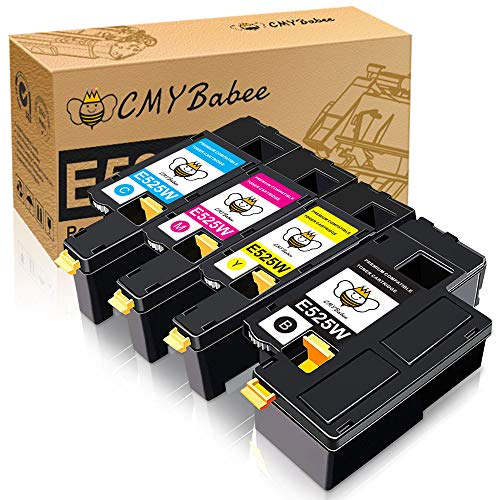 CMYBabee Compatible Toner Cartridge Replacement for Dell E525W Color Laser Printer 593-BBJX 593-BBJU 593-BBJV 593-BBJW (Black, Cyan, Magenta, Yellow, 4-Pack)