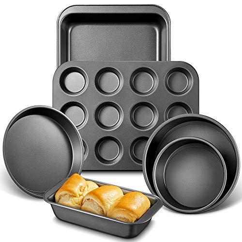 """Deik Backformen Set 6-teilig, Brat und Auflaufform, Muffinform für 12 Muffins, Pizzablech, Brotbackform, 2 Stücke Kuchenform Runden (6"""" / 8"""") mit Abnehmbar Auslaufsicher Boden, Antihaftbeschichtung"""