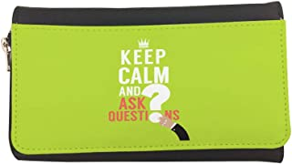 keep Calm & ask quistion Printed Leather Case Wallet