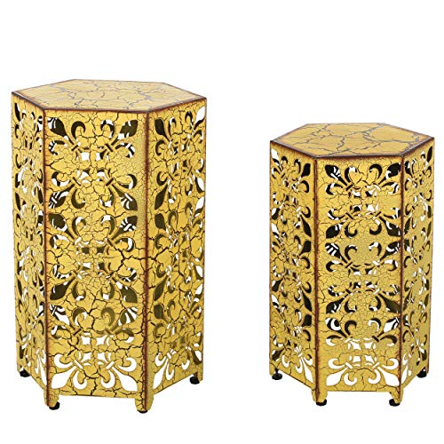 Christopher Knight Home Parrish Iron Accent Tables, 2-Pcs Set, Antique Yellow