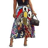 Raylans Falda plisada con estampado de dibujos animados para mujer - Blanco - Large