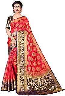 Neerav Exports Banarasi Silk With Rich Pallu Traditional Jacquard Saree (Red)