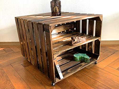 Vintage Pieces Stabiler Beistelltisch auf Rollen, Couchtisch aus 2 Weinkisten (mit Zwischenablage), Coffee Table, Holztisch aus geflammten Obstkisten, Schöner Wohnen