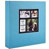 Benjia - Álbum de fotos con 600 fundas de 10 x 15 cm para fotos de gran formato familiar, boda, clásica, cubierta de lino (60 hojas, 120 Pages, Teal)