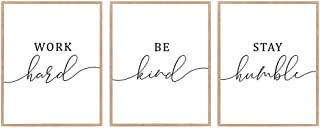 Quote Print, Set of 3 Work Hard Be Kind Stay Humble Poster, Inspiration Office Sign Wall Décor 8x10 Unframed