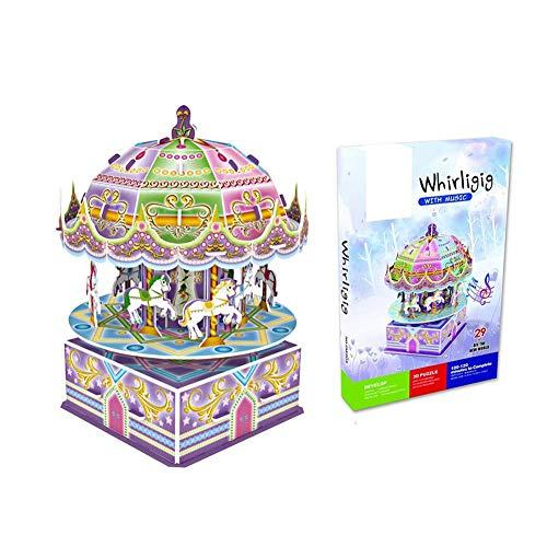 Dilwe Giocattolo di Puzzle 3D, Scatola Musicale di Giostra dei Cartoni Animati Jigsaw Giocattoli per Bambini, 29 Pezzi