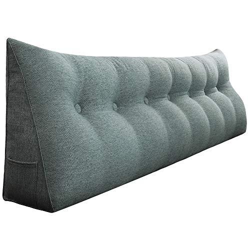 VERCART Rückenkissen Nackenstützkissen kopfkissen für Sofa Bett mit Waschbar Bezug Weich Bequem Leinen Grau 200cm