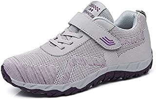 FYXKGLa New Mother Shoes Healthy Walking Shoes Light and Comfortable Flat Bottom Aged Shoes Casual Velcro (Color : Grey, Size : 39EU)