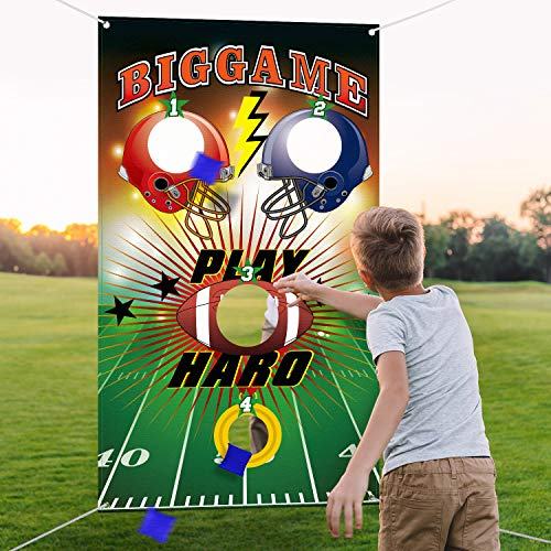 Football Toss Game with 3 Bean Bags, Indoor and Outdoor Football Party Game for Kids Adults Family Football Birthday Party Supplies and Football Decorations