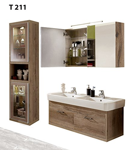 regalwelt Bad Serie timbery T211, Armadio, armadietto a Specchio, lavabo Armadio in SOE