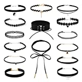 Collane Girocollo, 15 Pezzi Choker in Velluto Adatte per Donne e Ragazze, Collane Girocollo Nere per Varie Occasioni come Vita Quotidiana e Collane a Girocollo per Donna Ha uno Stile Punk(15 Stili)
