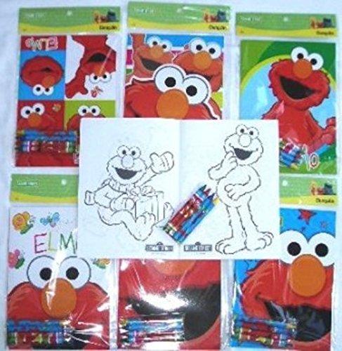 Coloring Book 12 Sets of Sesame St Elmo and Crayon Set Children Party Favors Bag Filler