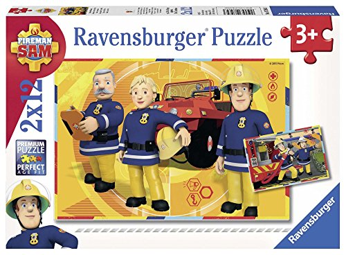Ravensburger 75843 Puzzel Brandweerman Sam Aan Het Werk - Twee Puzzels - 12 Stukjes - Kinderpuzzel