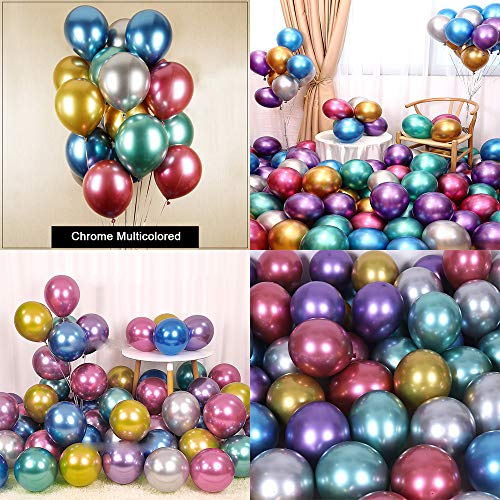 Chrome Metallic Balloons for Party 50 pcs 12 inch Thick Latex balloons for Birthday Wedding Engagement Anniversary Christmas Festival Picnic or any Friends & Family Party Decorations-Multicolored