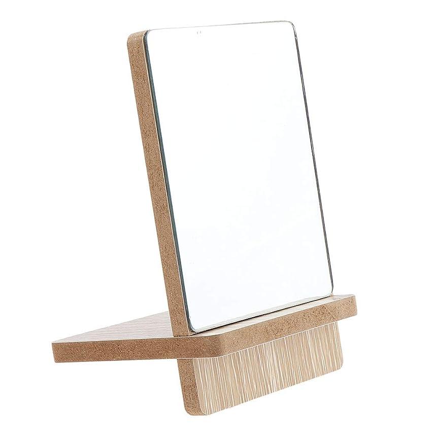 無知成功するから聞くF Fityle メイクアップミラー バスルーム シェービング バニティミラー 立てミラー 木製 3サイズ選べ - 小