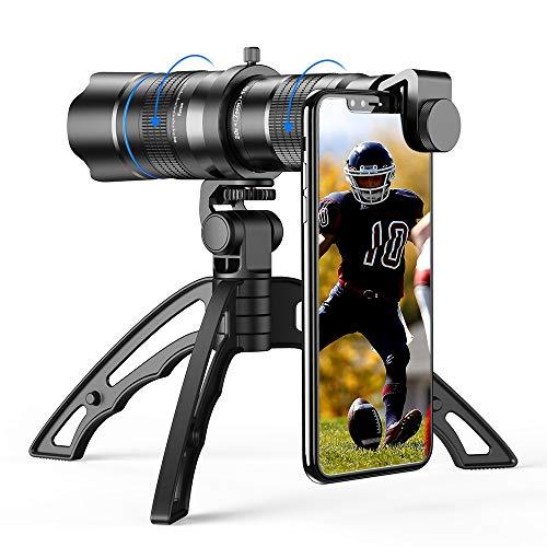 Apexel - Objetivo con Zoom HD 20-40X, con trípode, teleobjetivo, Lente para teléfono móvil, telescopio para iPhone, Samsung y Otros Smartphones, Ideal para Caza, Camping, Deportes