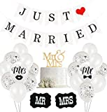 Just Married Hochzeit Deko Set, 30 Weiß Ballon, 10 Just Married Luftballons, 2 Schilder MR und MRS, 1 Just Married girlande banner für Heiratsantrag Hochzeit Fest Party Dekoration