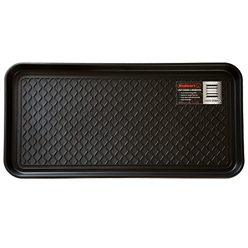 Stalwart 75-ST6012 All Weather Boot Tray-Water Resistant Plastic Utility Shoe Mat for Indoor and Outdoor Use in All Seasons (Black), Large