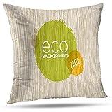 Fundas de Almohada de árbol de la Vida, Funda de cojín de Almohada Orgánica con bastón Naturaleza Comida Sana Ecología Vegana Cremallera Invisible para sofá Dormitorio 45X45CM