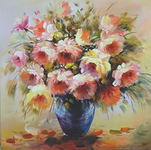 FineDecoArt Colección «Charming Flowers», lienzo acrílico, pintado a mano, 80 x 80 cm, estilo floral, ramo de rosas, rojo y amarillo, abstracto, moderno, decoración de pared para salón o dormitorio