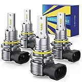 HONCS 9005 9006 LED Headlight Bulbs, 300% Brighter Wireless LED HB3 HB4 High/Low Beam, 6500K Cool White LED Conversion Kit