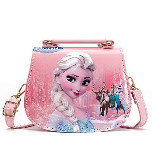Fancyland Elsa Mädchen Taschen Frozen 2 Eiskönigin Kinder Umhängetasche mit Anna und ELSA 2 Spielzeug Handtasche (Pink)