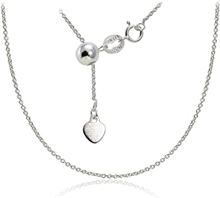 Hoops & Loops Sterling Silver 1.5mm Rolo Adjustable Chain Necklace, from 12