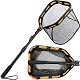 PLUSINNO Floating Fishing Net for Steelhead, Salmon, Fly, Kayak, Catfish, Bass, Trout Fishing, Rubber Coated Landing Net for Easy (19.7'/50cm Hoop Size Length 1.35M Orange (Telescopic Pole))