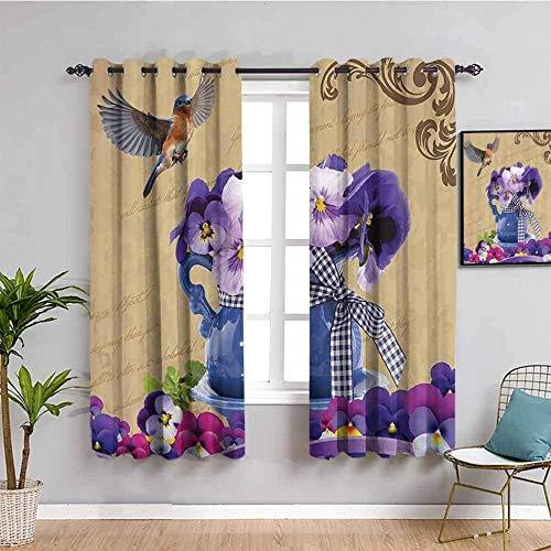 MENGBB Cortina Opaca Microfibra Infantil - Púrpura decoración flor pájaro - 90% Opaca Cortina aislantes de frío y Calor - 110x140cm Decorativa con Ojales Estilo para Salón Habitación y Dormitorio