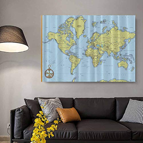 High School Classroom Decor Political World Map with Capitals and Rivers Simple Poster Colourful Best Gifts for Wife Colourful L30 x H60 Inch
