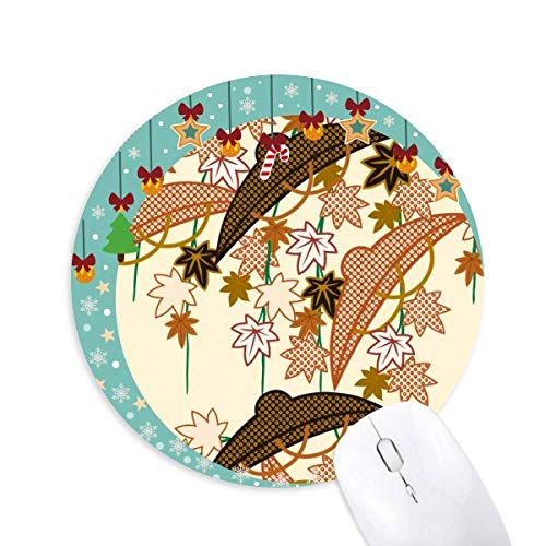 Gemälde Japanische Kultur Braune Maus Pad Jingling Bell Round Rubber Mat
