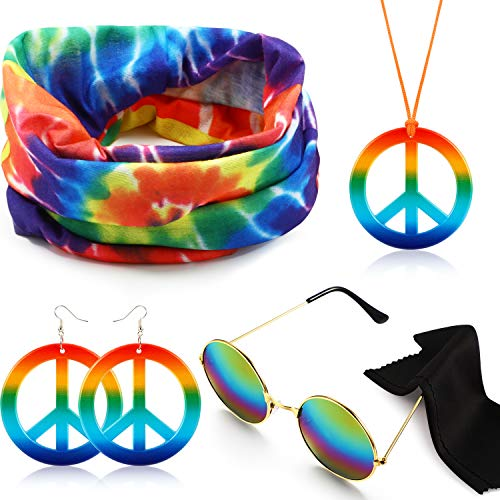 Hicarer Hippie Costume Set Include Sunglasses, Headband, Peace Sign Necklace and Earring (Rainbow Colorful Style)