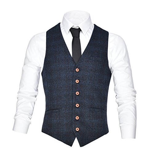 VOBOOM Men's V-Neck Suit Vest Casual Slim Fit Dress 6 Button Vest Waistcoat (Blue, X-Large)