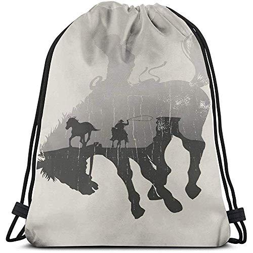 Bouia rugzak, gratis Rodeo Cowboy silhouetten paard trekkoord tassen multifunctionele string rugzak duurzame cinch tassen draagbare lichte opbergtas