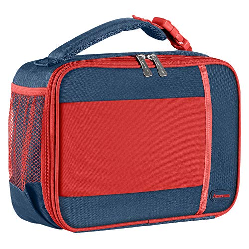 Kids Lunch Box with Supper Padded Inner Keep Food Cold Warm for Longer Time,Amersun Leak-proof Solid Insulated School Lunch Bag with Multi-Pocket for Teen Boys Girls,CPC Certified,Blue+Red