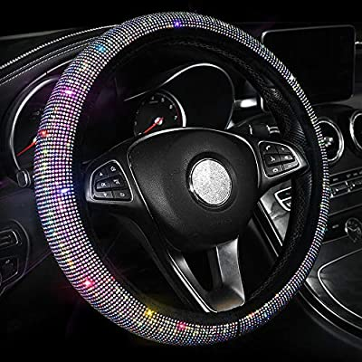 Car Sparkly Steering Wheel Cover for Women Girls, Small Size 14-14 1/4 inches Colorful Bling Anti-Slip Wheel Protector, Black