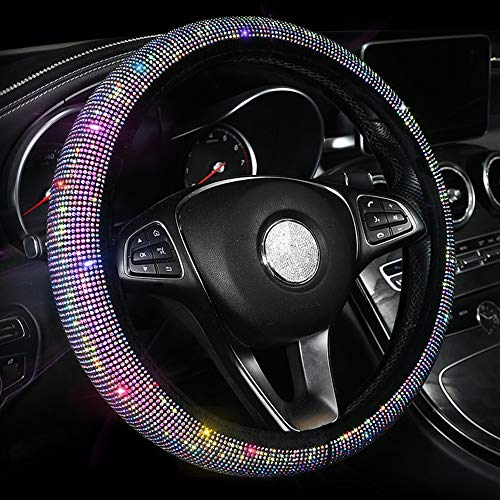 Car Sparkly Steering Wheel Cover for Women Girls, Colorful Bling...