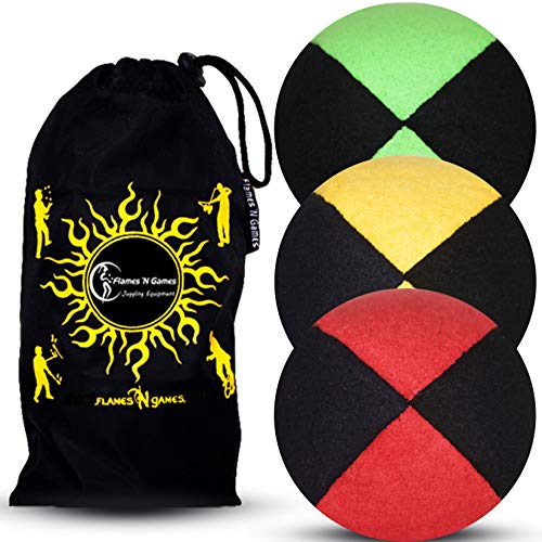 Jonglierbälle 3er Set: Profi Beanbag Bälle aus Velours +Tasche. Set Für Anfänger Wie Auch Für Profis. (Schwarz mit Grün/Gelb/Rot)