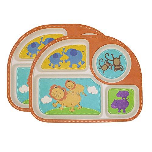 Plato Para Bebé,2 Platos Compartimentos Niño Y Bebé Alimentación Cuberteria Infantiles Bambu...
